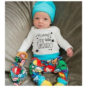 """Other - BOYS """"MOMMY'S LITTLE SUPERHERO"""" 3 PIECE OUTFIT"""